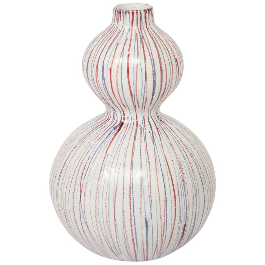 Bitossi Vase, Ceramic Stripes, White, Red and Blue, Signed
