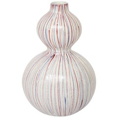 Bitossi Vase, Ceramic Stripes, White, Red and Blue, Signed