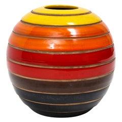 Bitossi Vase, Ceramic, Stripes, Yellow, Orange and Red, Signed