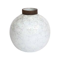 Bitossi Vase, Ceramic White and Brown, Signed