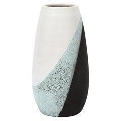 Bitossi Vase, Ceramic, White, Green, and Black, Signed
