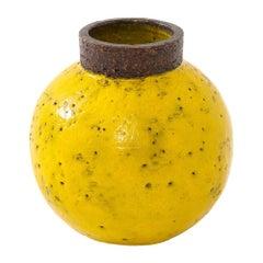 Bitossi Vase, Ceramic, Yellow and Brown, Signed