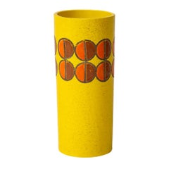 Bitossi Vase, Ceramic Yellow Geometric, Signed
