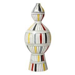 Bitossi Vase, Geometric Stripes, Signed