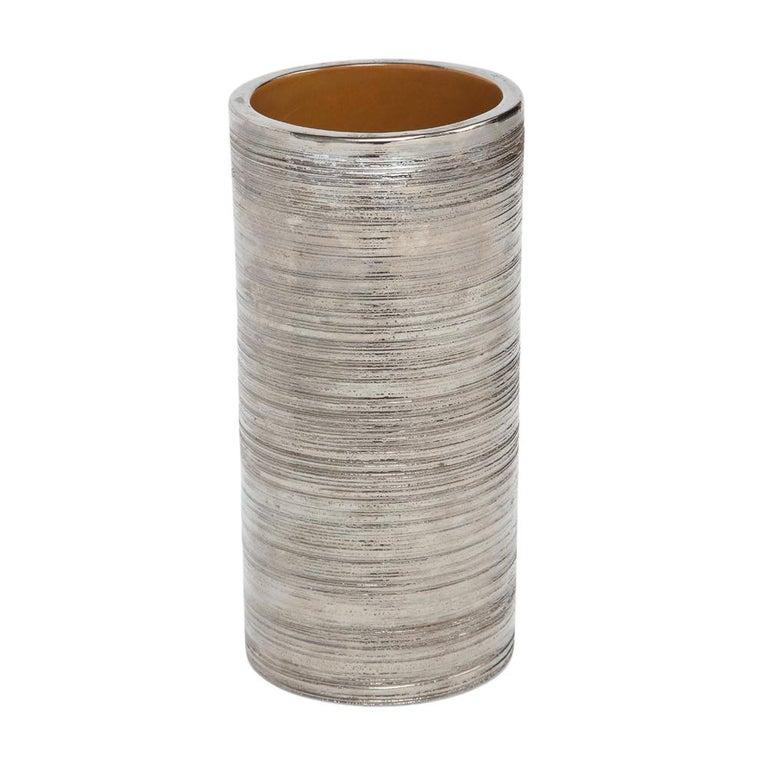 Mid-Century Modern Bitossi Vase, Metallic Brushed Silver Chrome, Signed For Sale