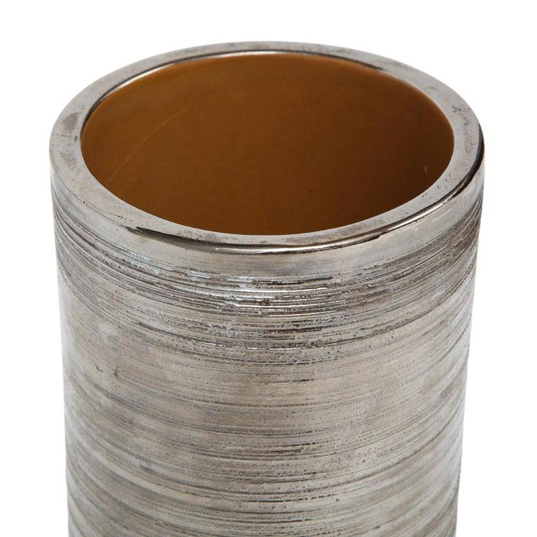 Italian Bitossi Vase, Metallic Brushed Silver Chrome, Signed For Sale