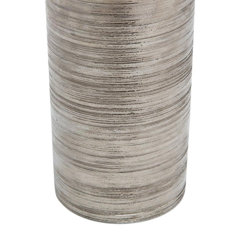 Glazed Bitossi Vase, Metallic Brushed Silver Chrome, Signed For Sale