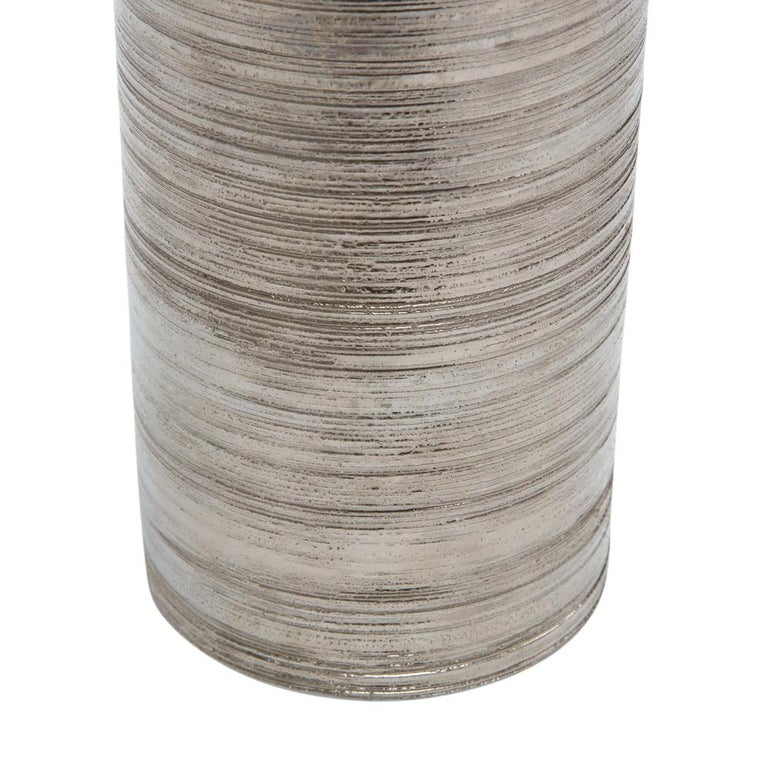 Bitossi Vase, Metallic Brushed Silver Chrome, Signed In Good Condition For Sale In New York, NY