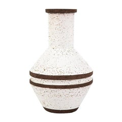 Bitossi Vase, White and Brown, Signed