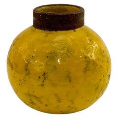 Bitossi Vase, Yellow Ceramic, Signed