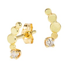 Bits and Bobs 18 Karat Yellow Gold Curved Stud Earrings with Diamonds