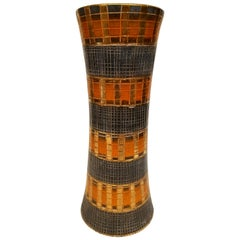 Bittossi Seta Vase by Aldo Londi in Orange, Gold and Gray