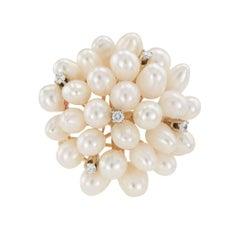 Biwa Pearl Diamond Yellow Gold Round Brooch