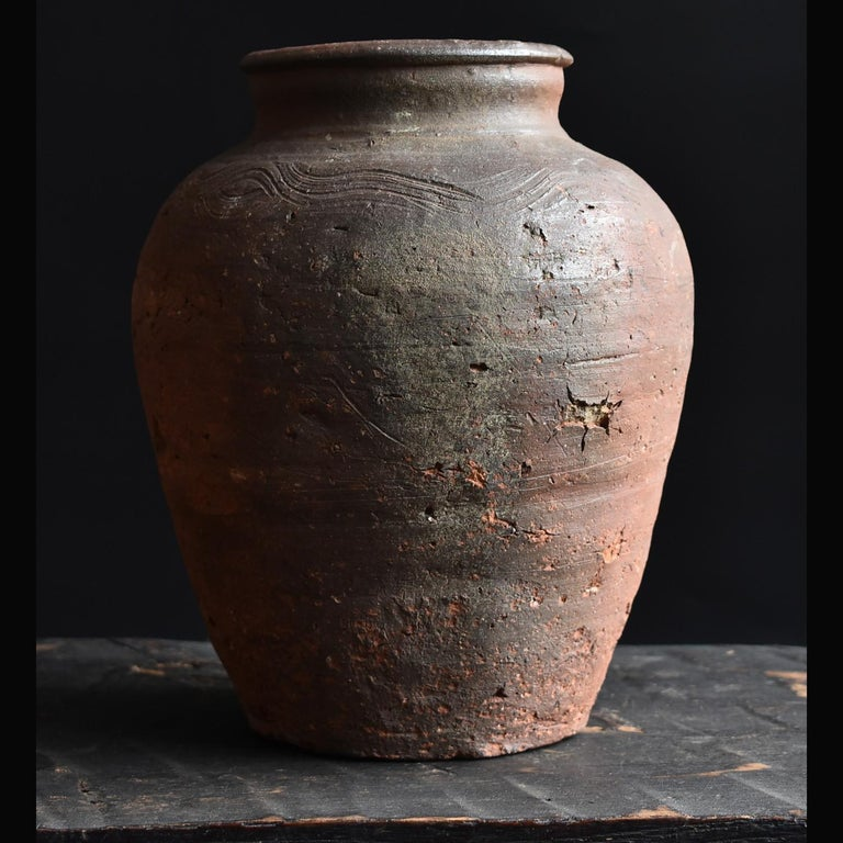 Arts and Crafts Bizen Pot with Wave Patterns in Japan circa 15th Century 'Muromachi Period' For Sale