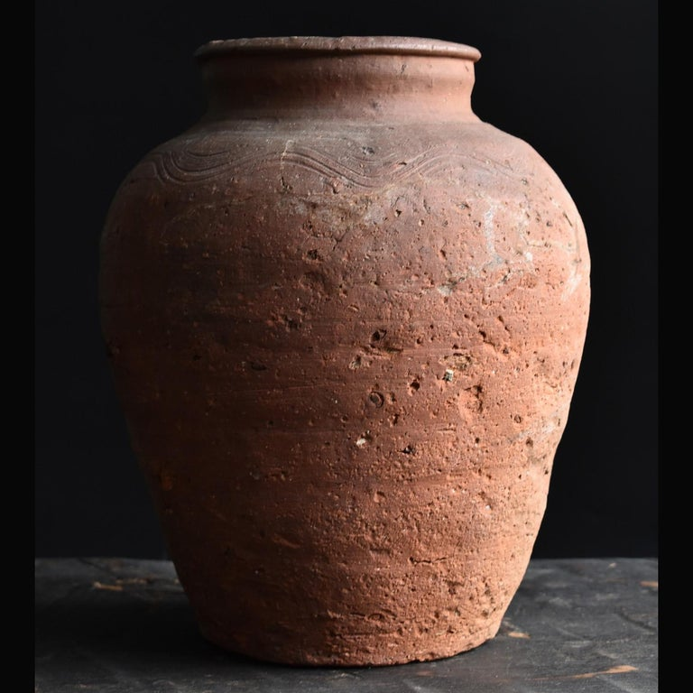 Japanese Bizen Pot with Wave Patterns in Japan circa 15th Century 'Muromachi Period' For Sale
