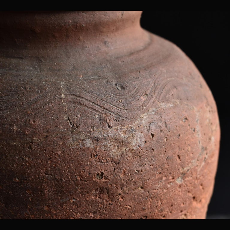 Ceramic Bizen Pot with Wave Patterns in Japan circa 15th Century 'Muromachi Period' For Sale