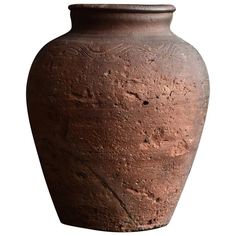 Bizen Pot with Wave Patterns in Japan circa 15th Century 'Muromachi Period' For Sale