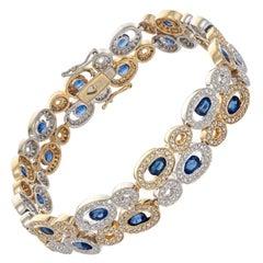 BJC 9.15 Carat Oval Sapphire Diamond Halo Two-Tone Gold Link Bracelet