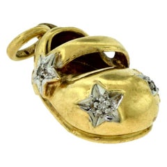 BJC Signed Small Yellow Gold Diamond Shoe Charm / Pendant