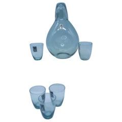 Bjorkshult Wuidart Smoke Grey Glass Decanter and Shot Glasses Mid-Century Modern
