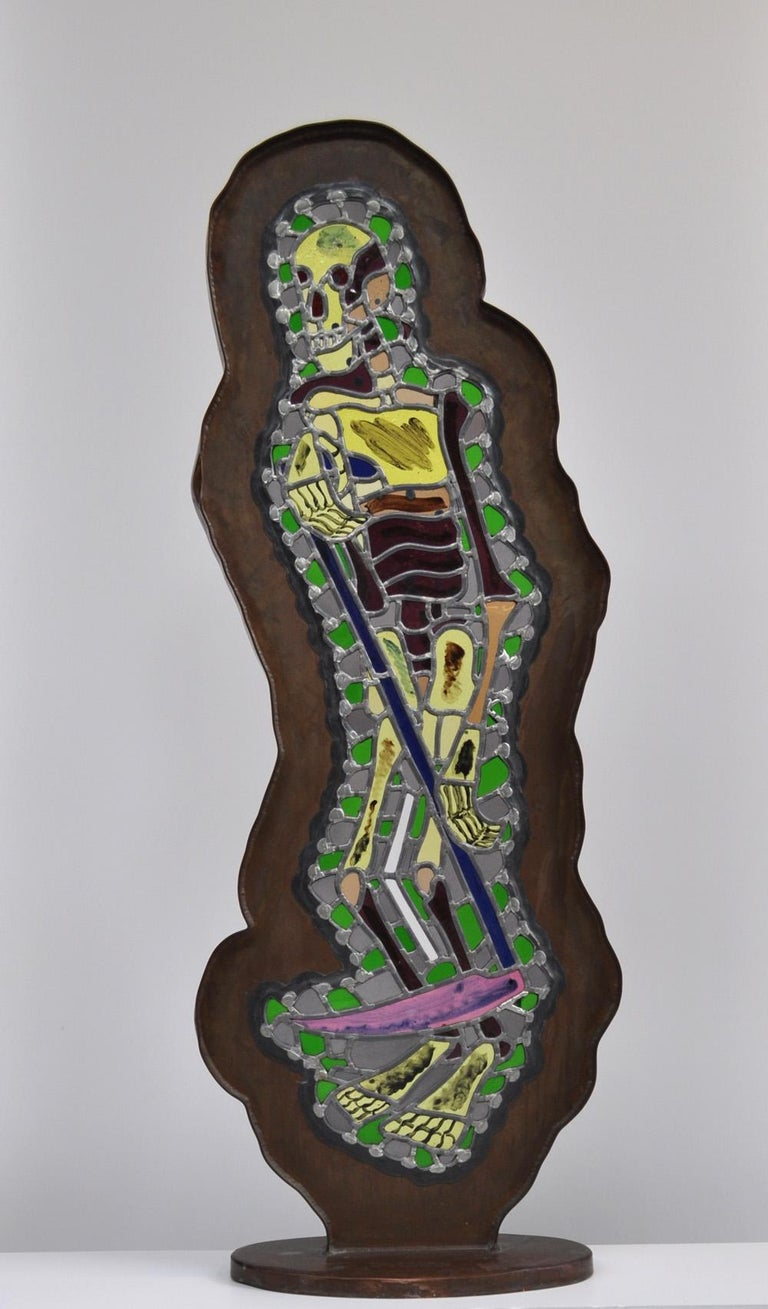 """Bjørn Nørgaard, freestanding glass mosaic with copper frame, 1989 """"Manden med leeen/Høstmanden"""" """"The Man with the Scythe/The Reaper"""" 137 cm H x 50 cm W x 26 cm D  Preliminary work for the decoration: """"Pavillon"""", Tuborg - Fredericia Brewery,"""