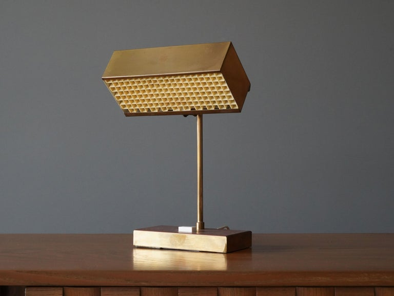 """A Minimalist """"Elidus"""" table lamp / desk light, design attributed to Björn Svensson. Produced in Sweden, 1970s.   Previously believed to have been designed by Hans-Agne Jakobsson."""