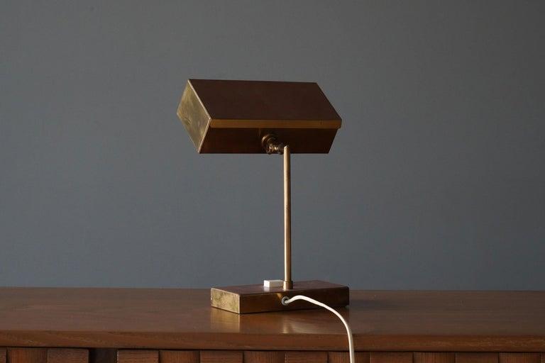 """Swedish Björn Svensson, Adjustable """"Elidus"""" Table Lamp, Brass, Sweden, 1970s For Sale"""