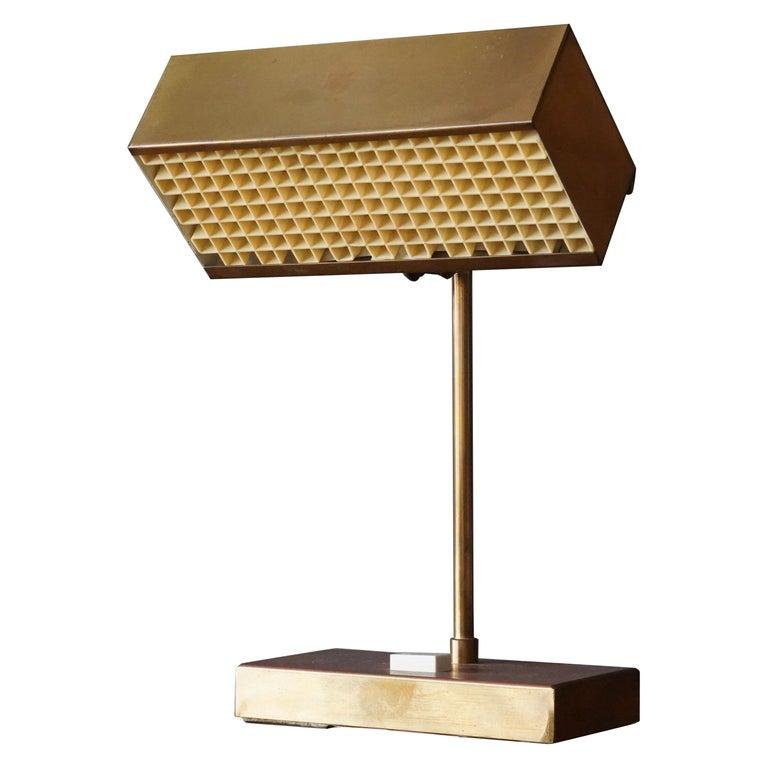 """Björn Svensson, Adjustable """"Elidus"""" Table Lamp, Brass, Sweden, 1970s For Sale"""