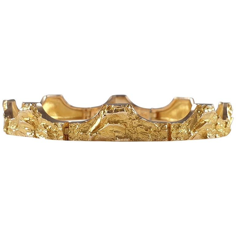 "Björn Weckström, 14 Carat Yellow Gold ""Golden Bridge"" Bracelet, Lapponia, 1995 For Sale"
