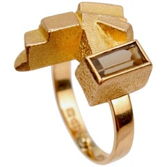 Björn Weckström 14 Karat Gold and Smoky Quartz Scandinavian Modernist Ring