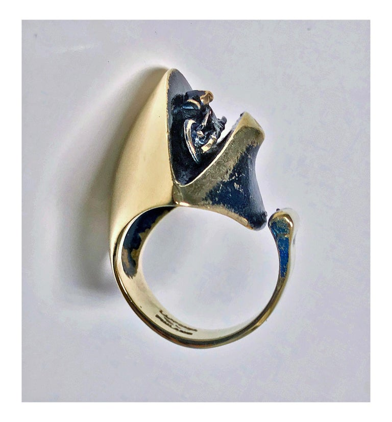 Rare Björn Weckström for Lapponia abstract polished bronze ring with oxidised tones of mauve enamel and sculptural design. The open ended design allows for a ring size of approximately 7.5-9.5 (or more if opened up further). Max height from top of