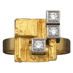 Björn Weckström for Lapponia Scandinavian Modernist Diamond Gold Ring