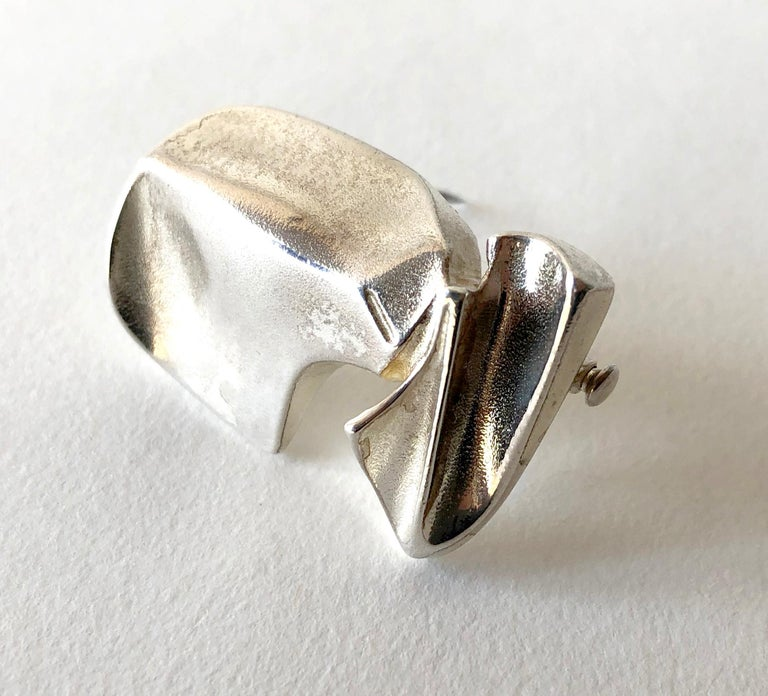 Bjorn Weckstrom for Lapponia Sterling Silver Space Age Brooch In Good Condition For Sale In Los Angeles, CA