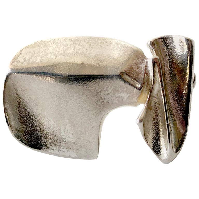 Bjorn Weckstrom for Lapponia Sterling Silver Space Age Brooch For Sale