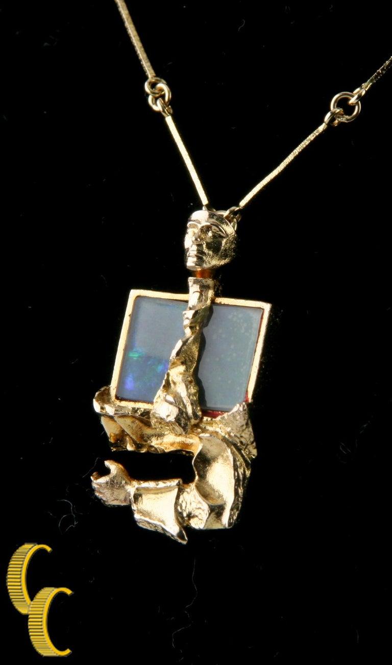 Uncut Bjorn Weckstrom Lapponia Black Opal 14 Karat Yellow Gold 1970s Vintage Necklace For Sale
