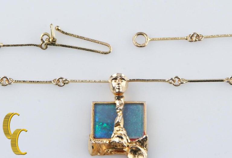 Women's or Men's Bjorn Weckstrom Lapponia Black Opal 14 Karat Yellow Gold 1970s Vintage Necklace For Sale