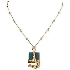 Bjorn Weckstrom Lapponia Black Opal 14 Karat Yellow Gold 1970s Vintage Necklace