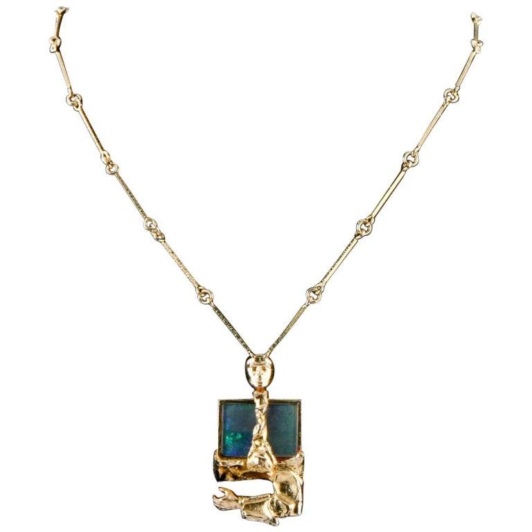 Bjorn Weckstrom Lapponia Black Opal 14 Karat Yellow Gold 1970s Vintage Necklace For Sale