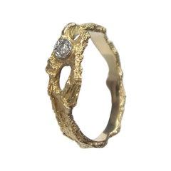Björn Weckström Lapponia Finland 18k Gold Ring with One Diamond