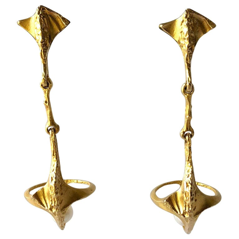 Bjorn Weckstrom Lapponia Finnish Modernist 14K Gold and Pearl Hinged Earrings For Sale