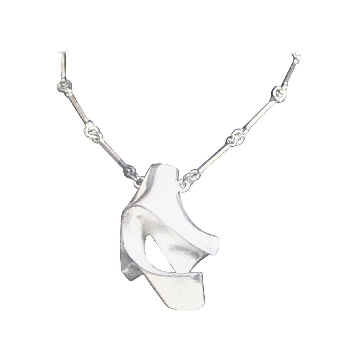 Bjorn Weckstrom Lapponia Modernist Biomorphic Sterling Silver Pendant & Chain
