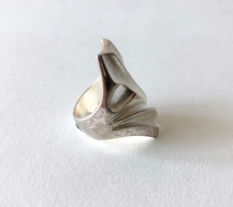Modernist Bjorn Weckstrom Lapponia Sterling Silver Finnish Space Age Ring For Sale