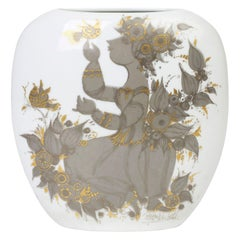 Bjorn Wiinblad for Rosenthal Midcentury Porcelain Empress Samuramat Vase