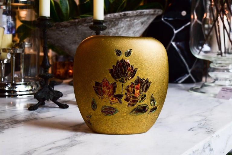 Bjorn Wiinblad Gold Vase In Excellent Condition For Sale In Bloomfield Hills, MI