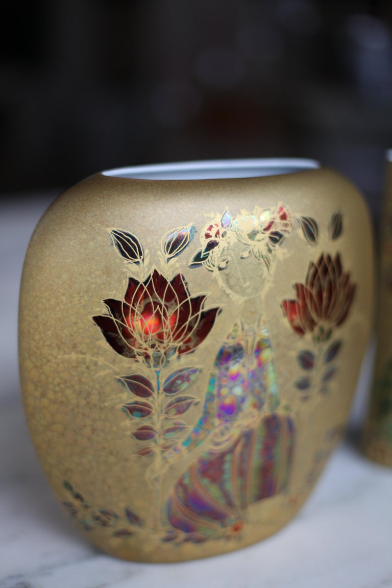 Art Glass Bjorn Wiinblad Gold Vase For Sale