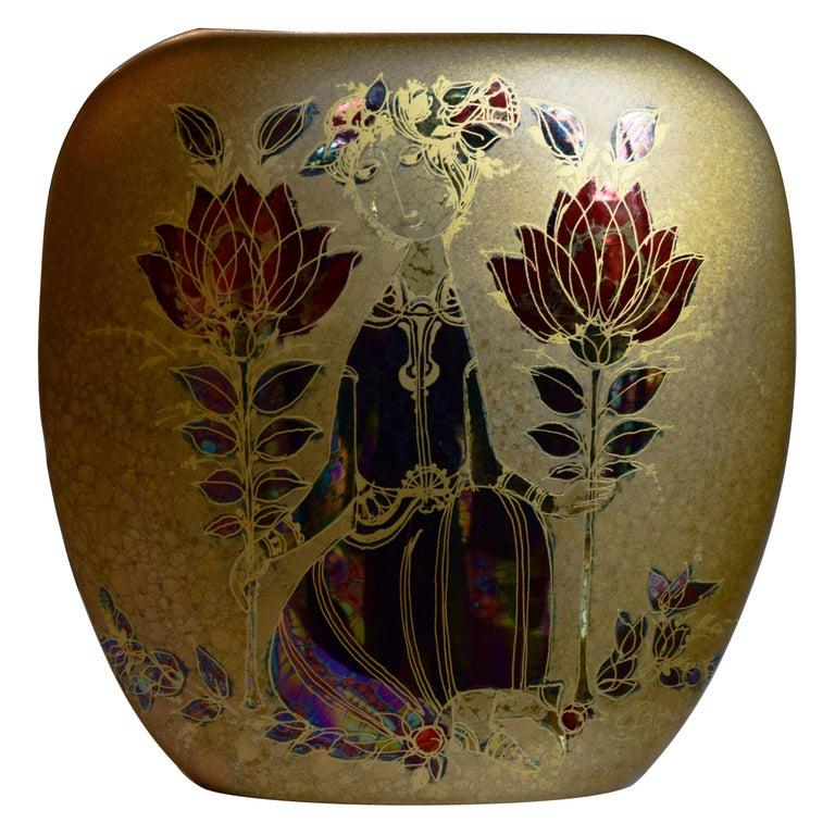 Bjorn Wiinblad Gold Vase For Sale