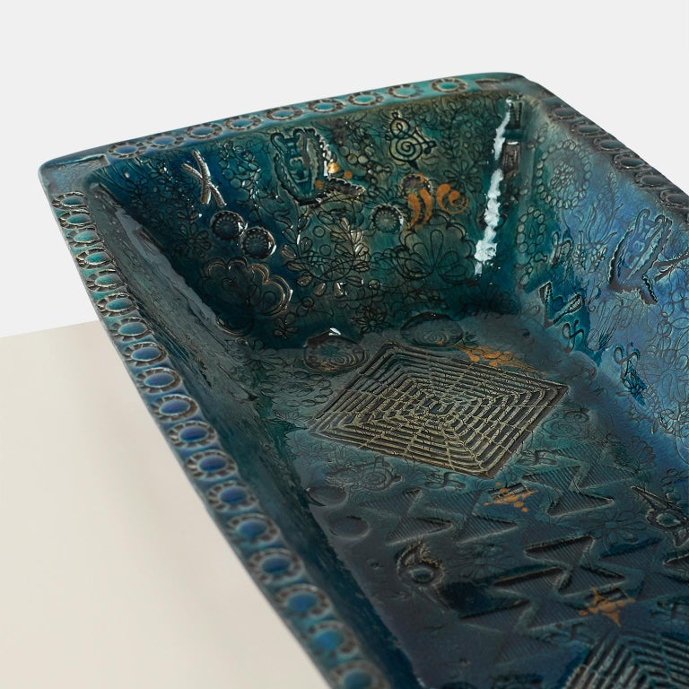 Danish Bjorn Wiinblad, Oblong Ceramic Tray For Sale