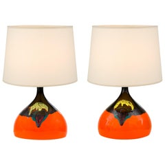 Bjorn Wiinblad Signed Orange Ceramic Table Lamps for Rosenthal, Denmark 1960s