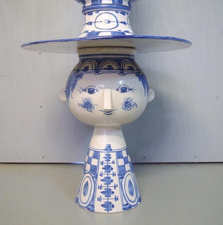 Danish Bjørn Wiinblad, Denmark, Giant Vase in Hand-Painted Glazed Ceramics For Sale