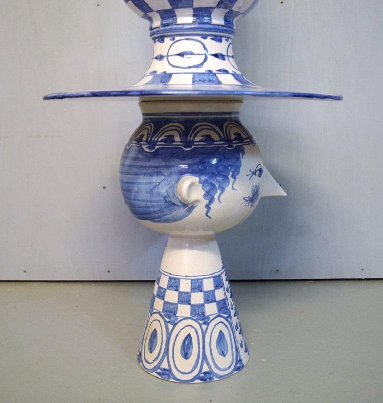 Late 20th Century Bjørn Wiinblad, Denmark, Giant Vase in Hand-Painted Glazed Ceramics For Sale